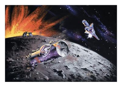 Spacecraft over the Moon
