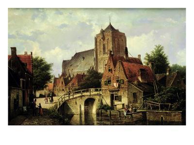 A Dutch Town with a Church