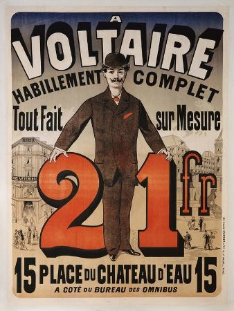 Poster Advertising 'A Voltaire', C.1877