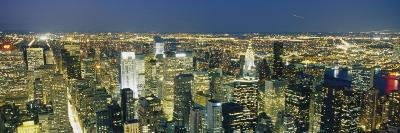 Aerial View of Buildings Lit Up at Dusk, Manhattan, New York City, New York State, USA
