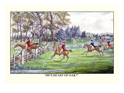 Horseman Jumps the Fence to Follow the Hounds