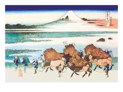 Merchants Travel to Market in View of Mount Fuji