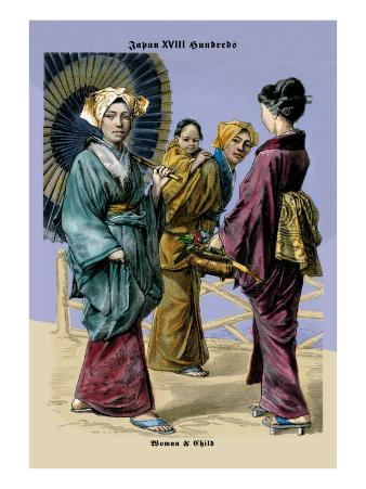 Japanese Women and Child, 19th Century