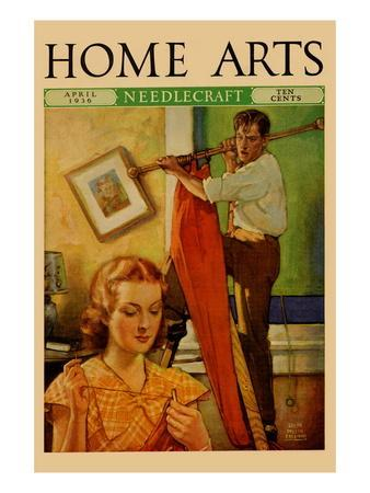Wife Sews While a Man Hangs a Picture