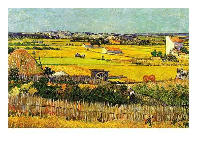 Harvest At La Crau with Montmajour In The Background