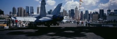 Tourist Near Aircraft Carrier, Intrepid Sea Air Space Museum, USS Intrepid, New York City, NY, USA