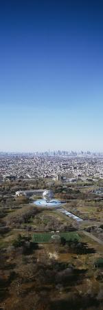Aerial View of Worlds Fair Globe, from Queens Looking Towards Manhattan, New York City, NY, USA