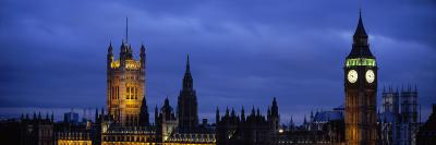 Big Ben Lit Up at Dusk, Houses of Parliament, Westminster, London, England