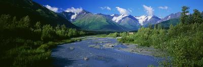 Glacial Stream Running Away from Chugach Mountains, Distant Cabin, Alaska, USA
