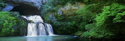 Waterfall in a Forest, Lison River, Jura, France