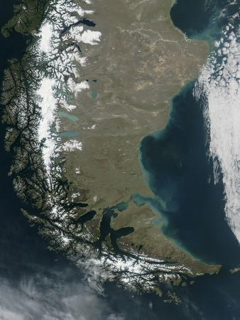 The Snow-Capped Andes Dominate the Left Side of This Image of Southern Chile and Argentina