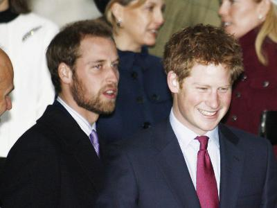 Prince William, sporting a new beard, with his brother Prince Harry as the Royal Family attend a Ch