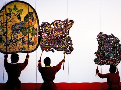 Performance of Nang Yai (Large Shadow Puppets) at Wat Khanon Temple