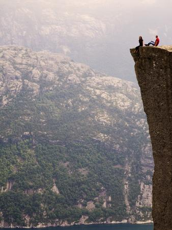 Hikers on Lysefjord Pulpit Rock