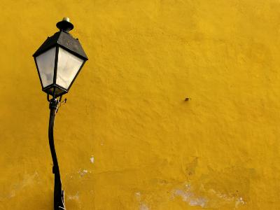Yellow Coloured Wall and Street Light
