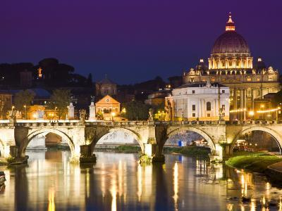 St Peter's Basilica from the Tiber River at Dusk