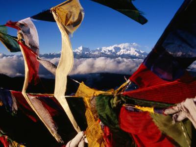 Buddhist Prayer Flags Framing Kangchenjunga Peak (8586M), Singali Ridge