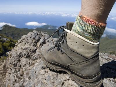 Hiker's Boot on Summit of Pico Ruivo Mountain
