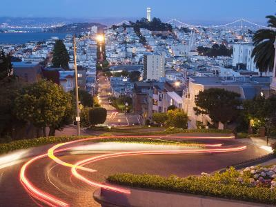 Vehicles Leave Colourful Light Trails at Dusk on Lombard Street