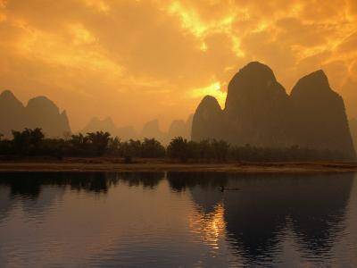 Limestone Karst Formations Along the Li River at Yangshu