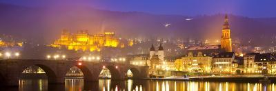 Heidelberg Castle and Alt Brucke (Old Bridge) over Neckar River at Dusk