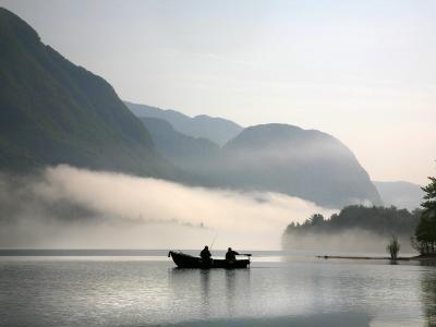 Two Fishermen in Boat on Lake Bohinj (Bohinjsko Jezero)