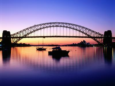 Harbour Bridge at Dawn, Seen from Blue Point, Boats in Foreground are Moored at Lavender Bay