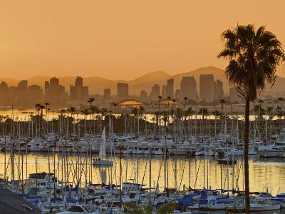Yachts across San Diego Bay at Sunrise, Looking Towards Downtown