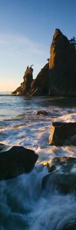 Sea Stack and Ocean Surf on Rocky Rialto Beach, Olympic National Park, Washington