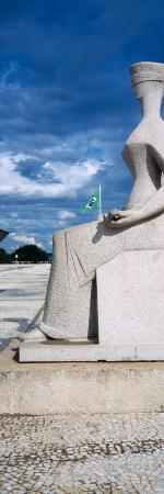 Statue of a Blindfolded Woman at a Courtyard, National Congress Building, Brasilia, Brazil