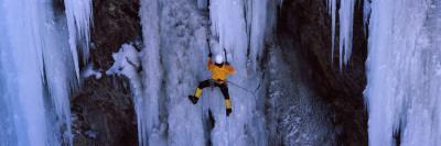 Rear View of a Person Ice Climbing, Colorado