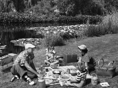 Family Having Picnic By Pond