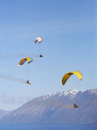 Paragliders Over Mountains, Queenstown, South Island, New Zealand