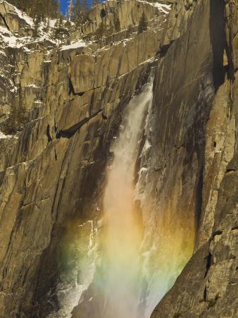 Rainbow on Upper Yosemite Falls in Yosemite National Park, California, USA