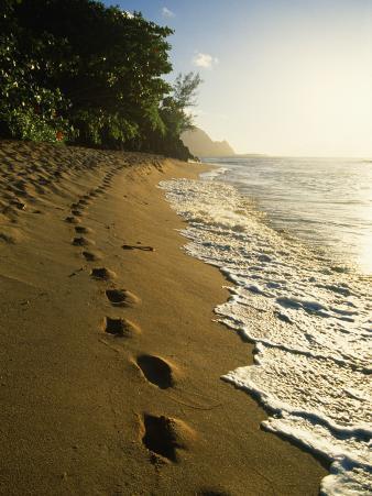 Footprints in Sand, Hanalei, Hawaii, USA