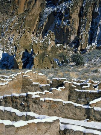 New Snow on Broken Walls of Tyuoni Ruin, Bandelier National Monument, New Mexico, USA