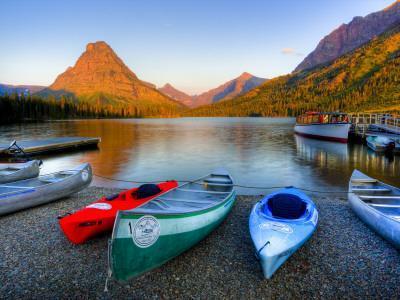 Two Medicine Lake and Sinopah Mountain, Glacier National Park, Montana, USA