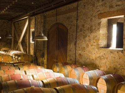 Window Light Streams Into Barrel Room at Hess Collection Winery, Napa Valley, California, USA