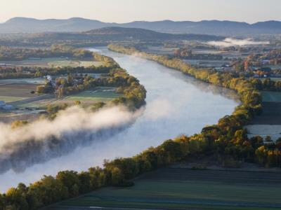 Connecticut River at Dawn As Seen From South Sugarloaf Mountain, Deerfield, Massachusetts, USA