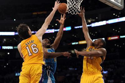 New Orleans Hornets v Los Angeles Lakers - Game Five, Los Angeles, CA - April 26: Carl Landry, Pau