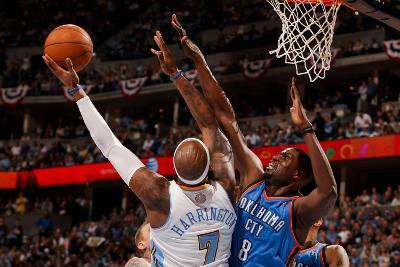Oklahoma City Thunder v Denver Nuggets - Game Four, Denver, CO - April 25: Nazr Mohammed and Al Har