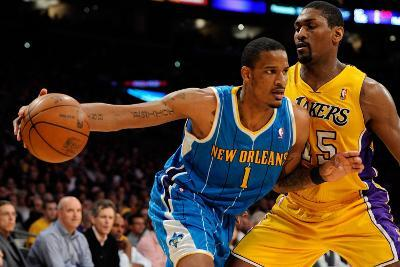 New Orleans Hornets v Los Angeles Lakers - Game Two, Los Angeles, CA - April 20: Trevor Ariza and R