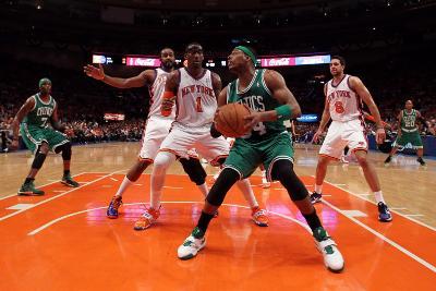 Boston Celtics v New York Knicks - Game Four, New York, NY - April 24: Paul Pierce, Amar'e Stoudemi