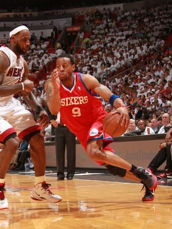 Philadelphia 76ers v Miami Heat - Game Two, Miami, FL- April 18: Andre Iguodala and LeBron James