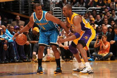 New Orleans Hornets v Los Angeles Lakers - Game Two, Los Angeles, CA - April 20: Chris Paul and Kob
