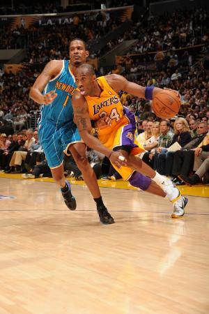 New Orleans Hornets v Los Angeles Lakers - Game Two, Los Angeles, CA - April 20: Kobe Bryant and Tr