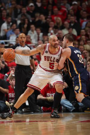 Indiana Pacers v Chicago Bulls - Game Two, Chicago, IL- April 18: Carlos Boozer and Josh McRoberts
