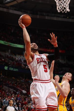 Indiana Pacers v Chicago Bulls - Game Five, Chicago, IL- April 26: Carlos Boozer and Tyler Hansbrou
