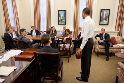 President Obama in Chief of Staff Bill Daley's office: White House, April 8, 2011