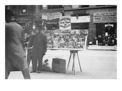 Street Vendor Sells Christmas & New Years Cards of New York Street
